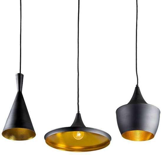 Hanglamp hanglamp goud : bol.com : QAZQA Depeche - Hanglamp - 3 lichts - zwart met goud