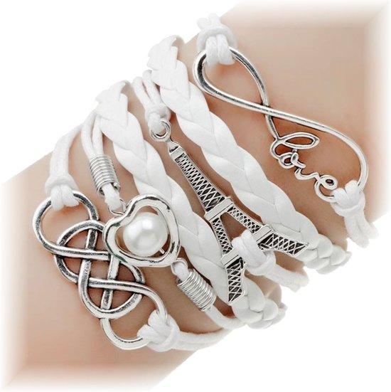 Fako Bijoux® - Multi Armband - Love Hart Eiffeltoren - Wit