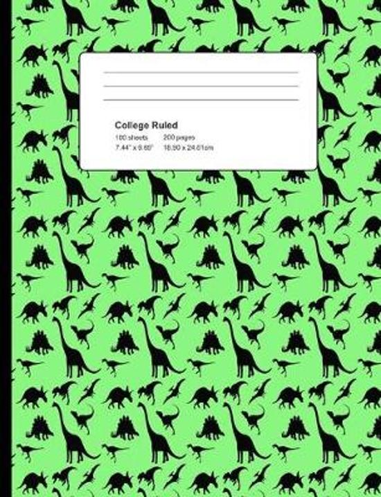 College Ruled 200 Pages: Pale Green Dinosaur Composition Notebook, Dino Pattern School Notebook, Journal, Dinosaur Pattern College Notepad