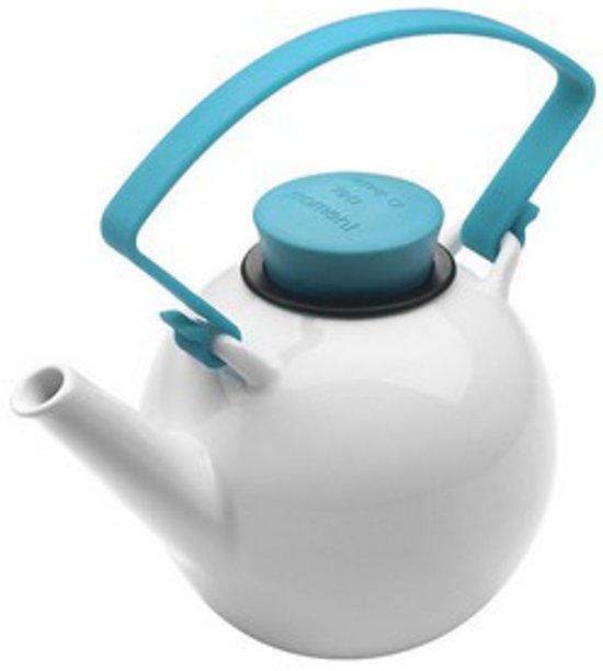 Qdo Theepot Porselein - Rond - Met Clip handvat - 1 liter -  Turquoise
