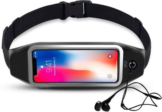 Running Belt Heupband Sportriem Hardloop Band Zwart – Riem met Smartphone Houder voor Fitness – Universeel voor alle telefoons - van iCall