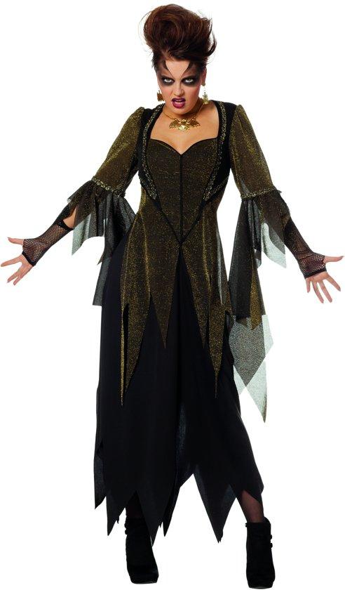 Heks & Spider Lady & Voodoo & Duistere Religie Kostuum | Golden Witch Gerafeld | Vrouw | Maat 52 | Halloween | Verkleedkleding