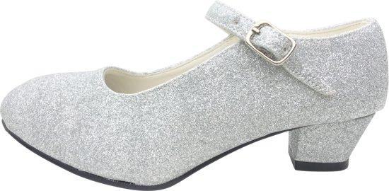 c09028074cd549 Spaanse Prinsessen schoenen zilver glitter maat 27 (binnenmaat 17 cm) bij  jurk