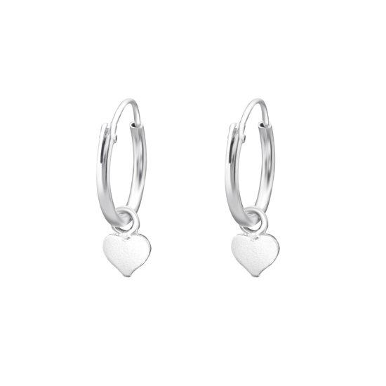 Zilveren hartje bedel oorbellen 925 oorringen