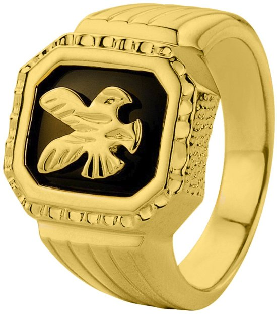 Lucardi - Gold plated zegelring adelaar
