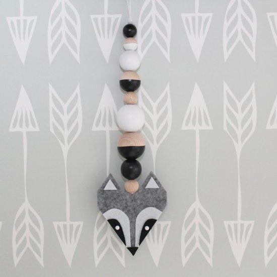 Decoratiehanger Wasbeer Grijs - Zwart