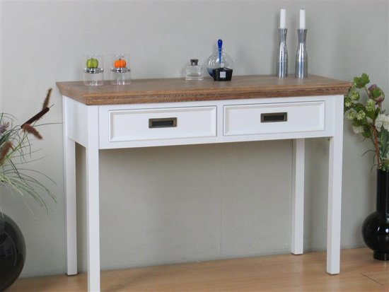 Sidetable Eiken White Wash.Bol Com Marie Sidetable Met 2 Lades Wit En White Wash