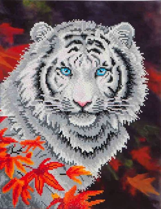 Diamond Dotz ® painting White Tiger in Autumn (45,7x35,5 cm) - Diamond Painting