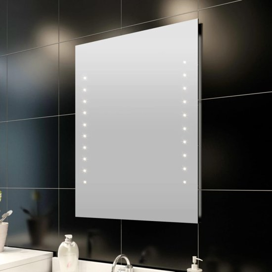 vidaxl badkamerspiegel met led verlichting spiegel glas 60x50 cm transparant