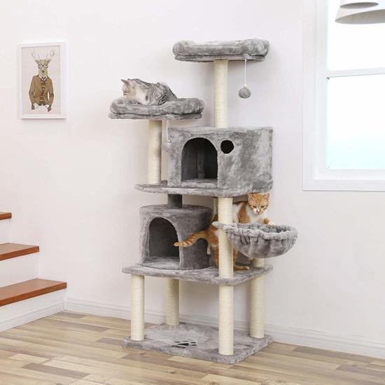 Luxe Krabpaal voor Maximaal 3 Katten - Meerdere Huisjes en Mandjes - 60x50x140cm - Lichtgrijs