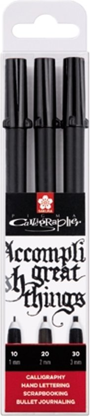 Pigma Calligrapher set 3 kalligrafiepennen zwart (1,0 - 2,0 - 3,0 mm)