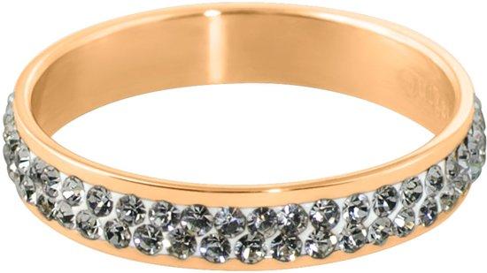 Quiges Stapelring Ring - Vulring Wit Zirkonia - Dames - RVS roségoudkleurige - Maat 21 - Hoogte 4mm