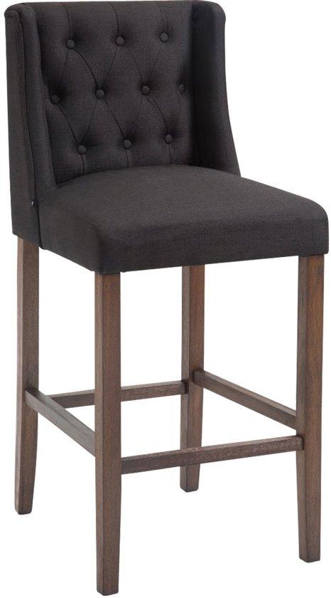 Clp Barkruk CASSANDRA, met onderstel van hout, met voetsteun, zithoogte van: 77 cm, met hoogwaardige bekleding van stof - zwart antiek donker