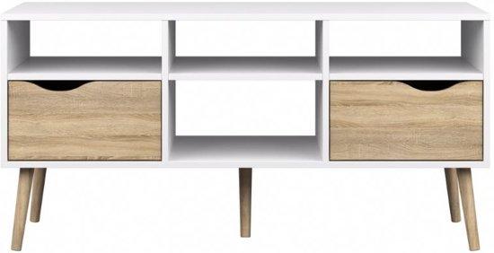 Zwevend tv meubel aylino van cm breed in de kleur hoogglans wit