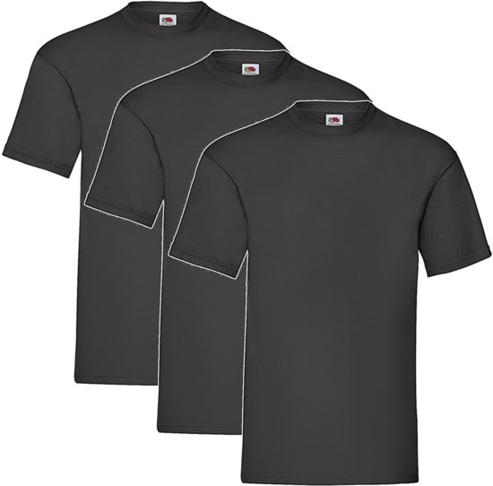 3 Pack Zwarte Shirts Fruit of the Loom Ronde Hals Maat XL Valueweight