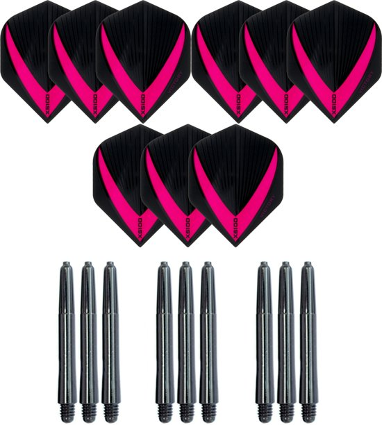 3 sets (9 stuks) Super Sterke – Roze - Vista-X – darts flights – inclusief 3 sets (9 stuks) - medium - darts shafts