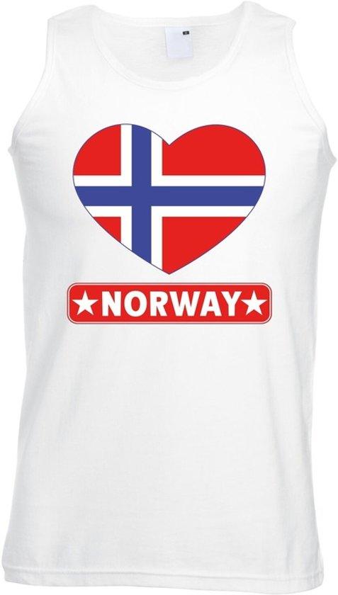 Noorwegen singlet shirt/ tanktop met Noorse vlag in hart wit heren L