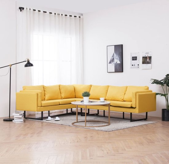 vidaXL Hoekbank stof geel