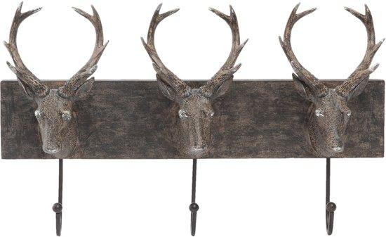Clayre & Eef Kapstok 3 haken hert bruin 44x9x28 cm