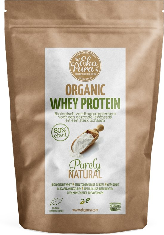 Ekopura Organic Whey Protein - Naturel - Biologisch wei eiwitpoeder - 500 gram