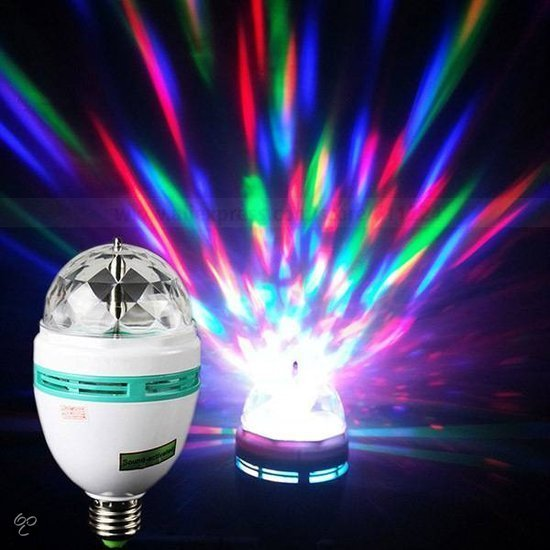 Roterende LED RGB Discolamp - E27 Discolicht Discobol - Party Light Discobal - E27 -3 Watt