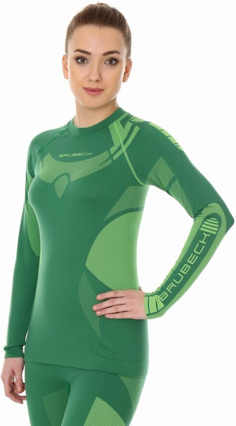Brubeck | Dry Dames Baselayer Shirt - Thermo Active  - Groen/Lime - L - lange Mouw -