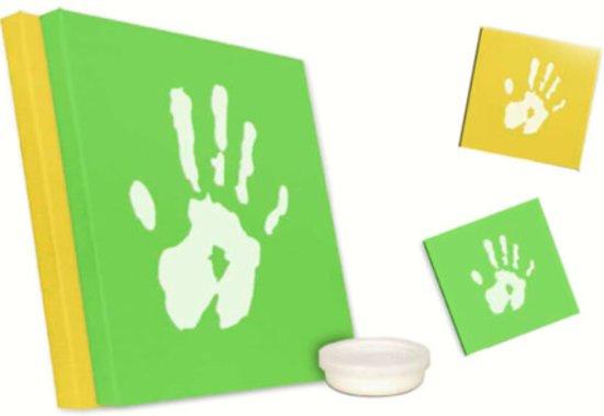 Handafdruk en voetafdruk baby of kind vastleggen op canvas 2 maal
