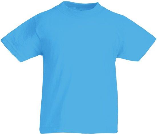 Fruit of the Loom T-shirt Kinderen maat 164 (14-15) 100% Katoen 5 stuks (Azure Blauw)