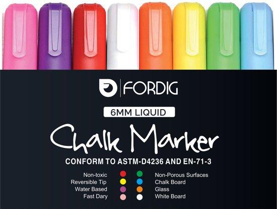 8 Multicolor Krijtstiften set voor krijtbord, schoolbord, spiegel en glas - Krijtbord stift - Porselein stift - Marker - Glasstiften - Raamstiften