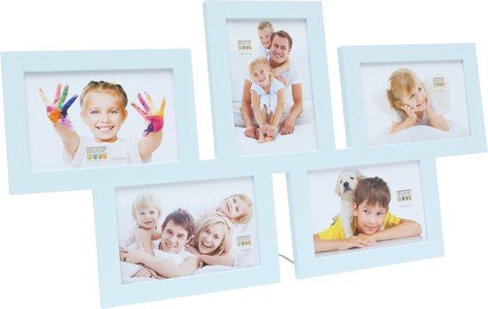 Multi fotolijst - vijf 10x15 cm foto's - blauw