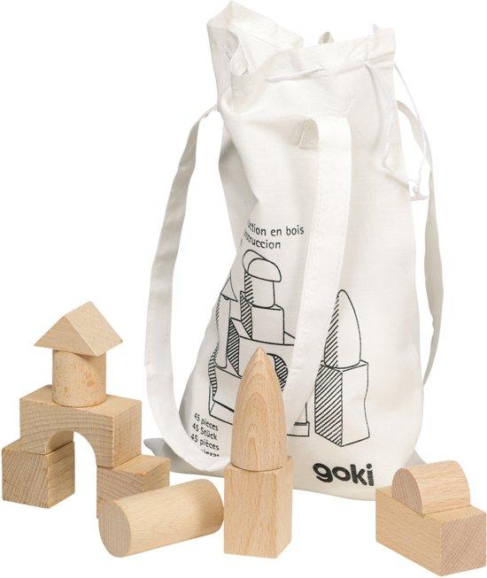 Blokkenzak 45-delig in katoenen zak, blank hout