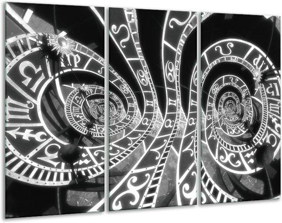 Schilderij | Canvas Schilderij Abstract | Zwart, Grijs, Wit | 120x80cm 3Luik | Foto print op Canvas