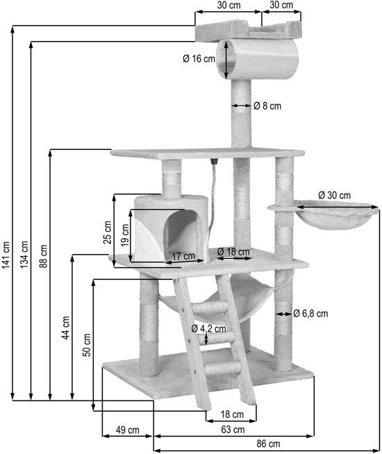 TecTake Stokely Krabpaal - Beige - 141 cm