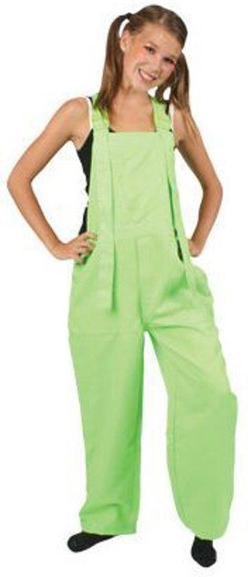 Groene tuinbroek fluor kind Maat 128