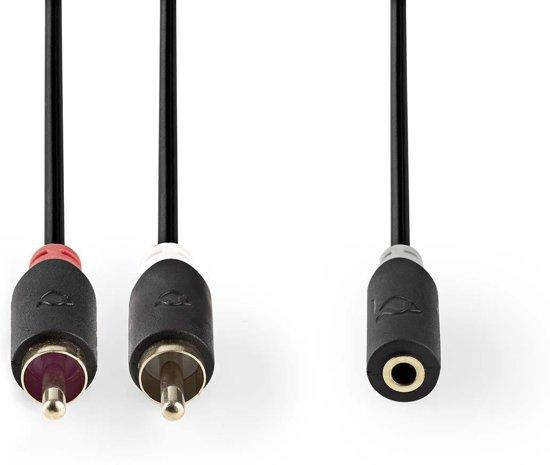 Nedis Tulp (m) - 3,5mm Jack (v) stereo audio adapter kabel - 0,20 meter