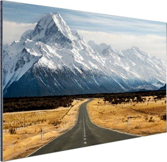 De weg naar Mount Cook Aluminium 30x20 cm - klein - Foto print op Aluminium (metaal wanddecoratie)