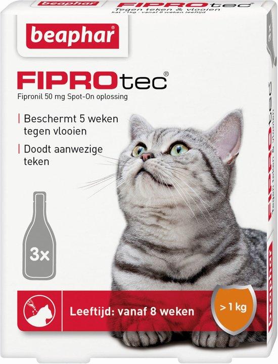 Beaphar Fiprotec - Vlooiendruppels - Katten vanaf 1 kg en 8 weken - 3 pipetten