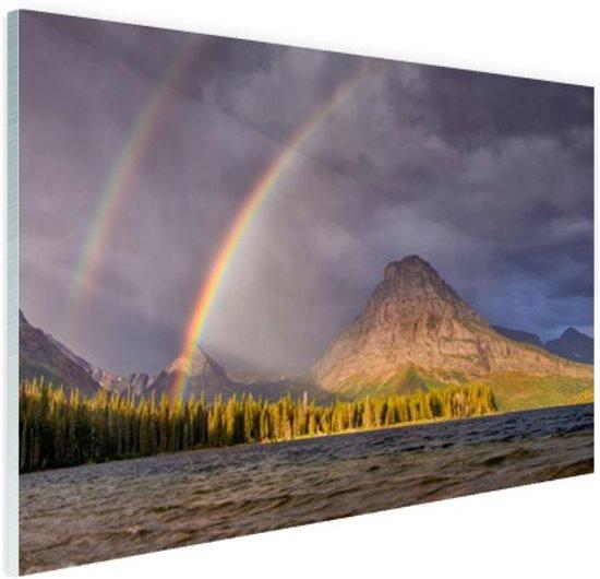 Dubbele regenboog over berg Glas 60x40 cm - Foto print op Glas (Plexiglas wanddecoratie)