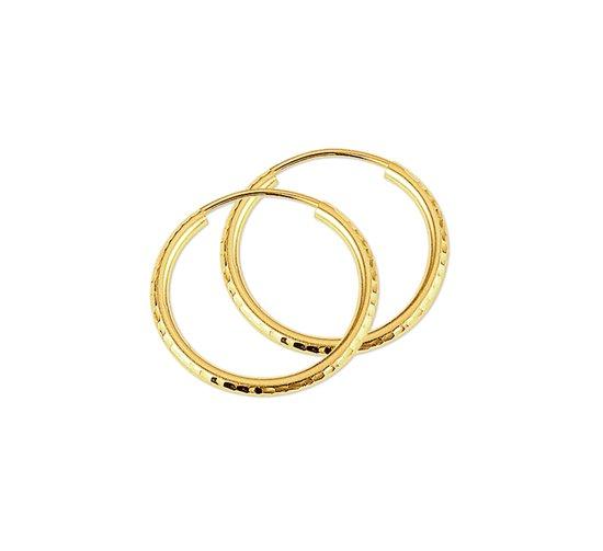 The Jewelry Collection oorringen Ronde Buis Gediamanteerd - Geelgoud