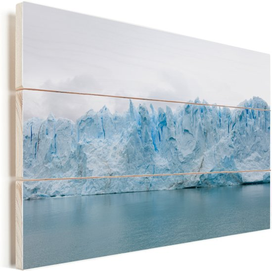De Perito Moreno gletsjer van dichtbij in Argentinië Vurenhout met planken 30x20 cm - klein - Foto print op Hout (Wanddecoratie)