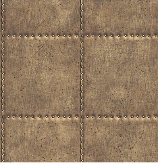Reclaimed Sheet Metal bruin behang (vliesbehang, bruin)
