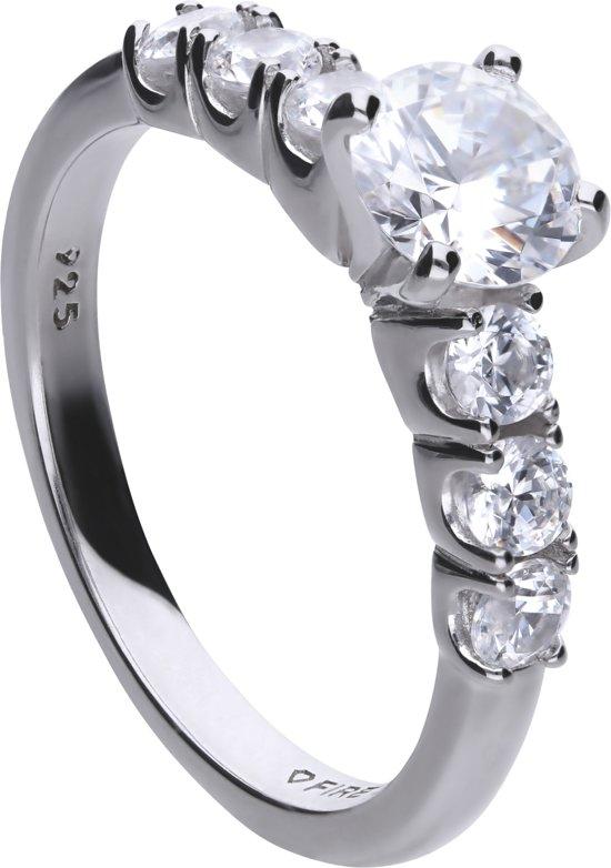 Diamonfire - Zilveren ring met steen Maat 18.5 - Zirkonia - Incl. Luxe LED Cadeaubox