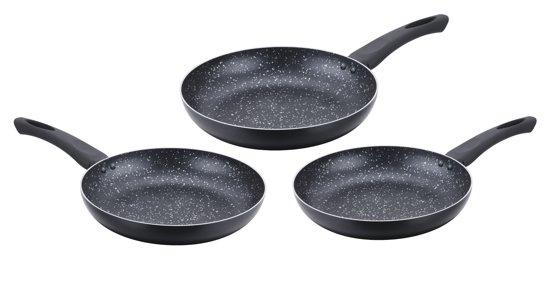 Cenocco CC-2001; Set van 3 koekenpannen met marmeren coating Zwart