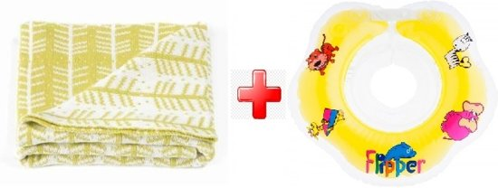 Roomblush Wiegdeken Feathers - Yellow + YELLOW Roxy Kids – Zwemring Baby – Zwemkraag – Nekring opblaasbaar – Drijfring - Babyfloat – Babyswimmer – Flipper 0-24 maanden 3-12 kg