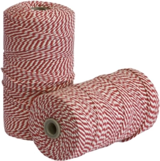 Rolladetouw - Rood/wit  - 80 m