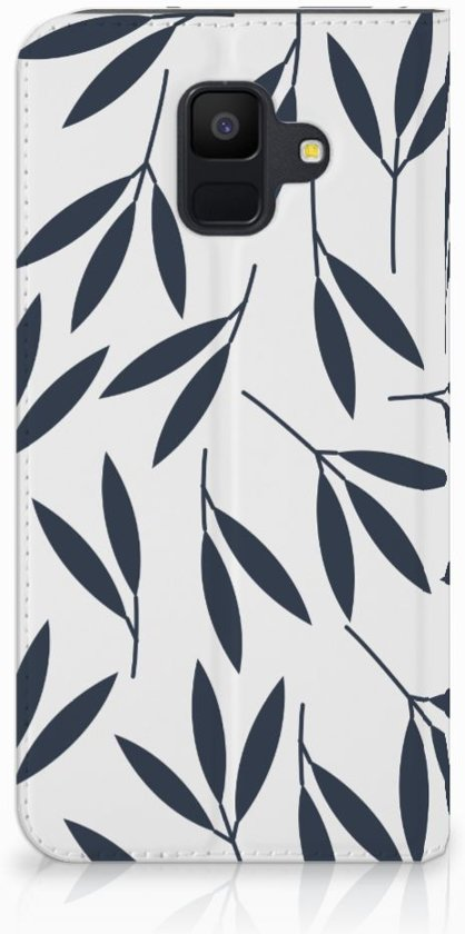Samsung Galaxy A6 (2018) Standcase Hoesje Design Leaves Blue