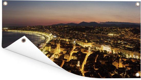 Panoramische luchtfoto van de Franse stad Nice Tuinposter 60x30 cm - klein - Tuindoek / Buitencanvas / Schilderijen voor buiten (tuin decoratie)