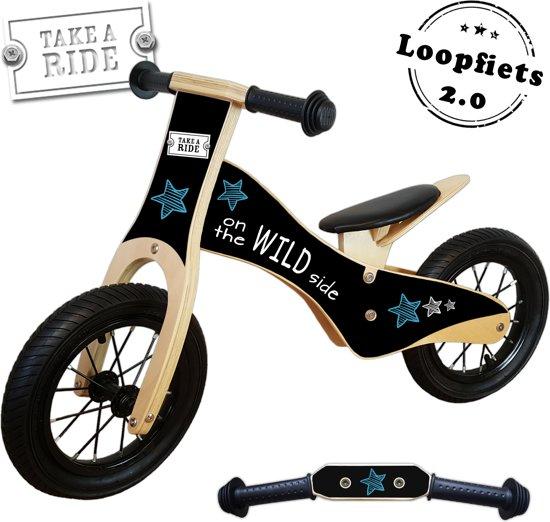 Geboortestoeltje-Loopfiets Take a ride-hout-blauw-luchtbanden-2jaar