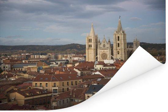 Gotische kathedraal van Leon in Spanje Poster 180x120 cm - Foto print op Poster (wanddecoratie woonkamer / slaapkamer) / Europese steden Poster XXL / Groot formaat!