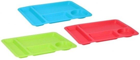 6x Groene borden/dienbladen met vakken 33 cm - Bord/dienblad/lunchtray/vakjesbord van kunststof